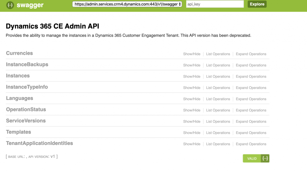 Dynamics 365 Admin API